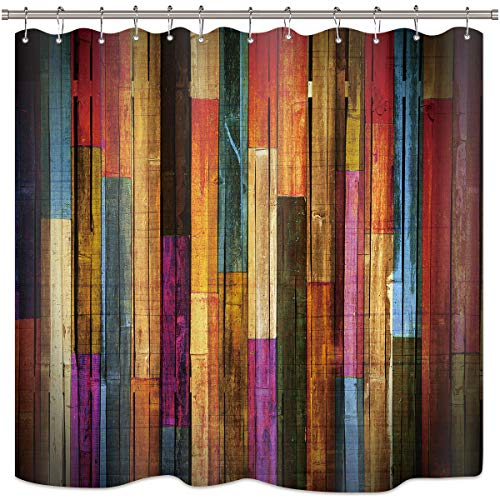 Riyidecor Colorful Painted Wood Shower Curtain Plank Rustic Retro Wooden Vintage Ban Door Bathroom Decor Set Polyester Waterproof 72x72 Inch 12 Pack Plastic Hooks]()