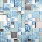 Sea Blue Green Glass Stainless Steel Tile White Kitchen Bath Backsplash Artistic Mosaic TSTMGB028 (11 PCS [12'' X 12''/each])