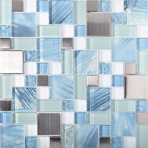 Sea Blue Green Glass Stainless Steel Tile White Kitchen Bath Backsplash Artistic Mosaic TSTMGB028 (11 PCS [12'' X 12''/each]) by TST MOSAIC TILES