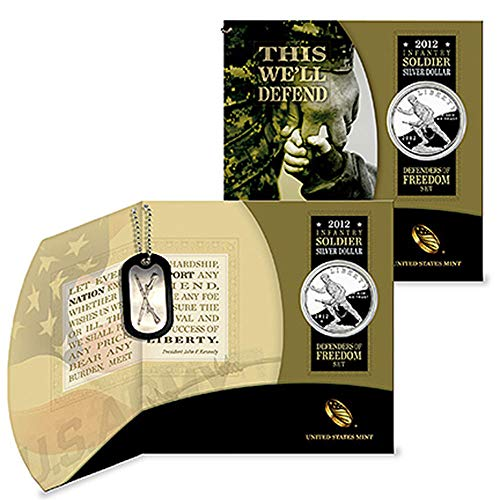 2012 W US Mint Infantry Soldier Silver Dollar Defenders of Freedom Coin and Dog Tag Set $1 Proof OGP