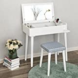 SONGMICS Vanity Makeup Table Set with Flip Top Mirror Cushioned Stool Makeup Dressing Table with Organizers White URDT31W