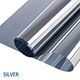 Window Film One Way Privacy Mirror Film Heat Control Anti-UV Window Cling Films No Glue Glass Films Privacy Window Sticker for Home and Office (Silver, 17.7''x78.7'')