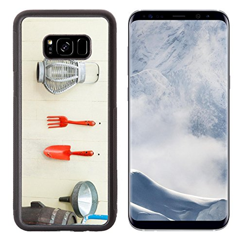 (Luxlady Samsung Galaxy S8 Plus S8+ Aluminum Backplate Bumper Snap Case IMAGE ID 31182657 Garden tools hanging and watering can on shed door with vintage feel)