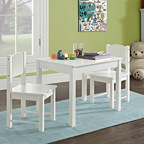 G4RCE Childrens Kids Wooden White Table and 2 Chairs Nursery Sets Indoor Use Unisex Best Gift For Birthday Xmas (White Table & Chair)