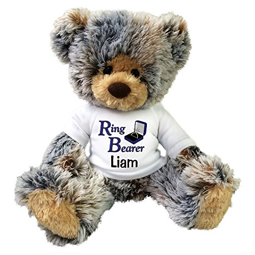 Personalized Ring Bearer Teddy Bear - 14 inch Brindle -