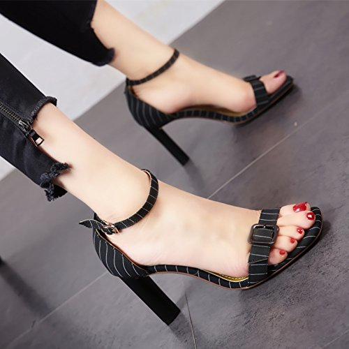 YMFIE Señora Temperamento Muy cómodos de tacón Alto Toe Toe Sandalias de Moda de Verano Toe Hebilla de Metal Zapatos de tacón. black