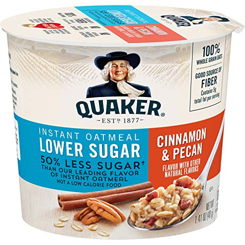 Quaker Instant Oatmeal Express Cups 50% Less Sugar, Cinnamon Pecan, 1.41 Ounce (Pack of 12)