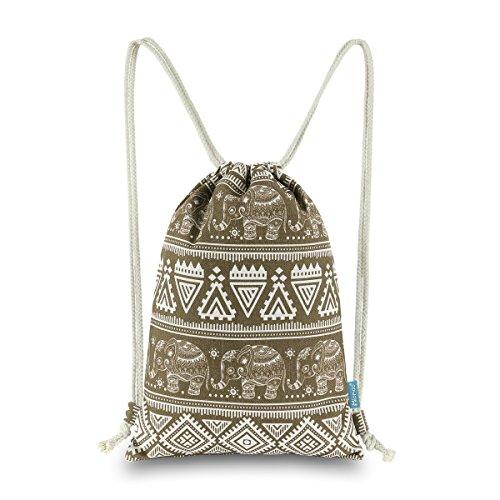 Miomao Drawstring Backpack Elephant String Bag Geometric Gym Sackpack Canvas Sinch Sack Sport Cinch Bag, 13