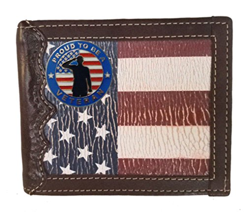 (Custom Proud to be A Veteran Bi-fold Wallet with a Distressed United States Flag background)