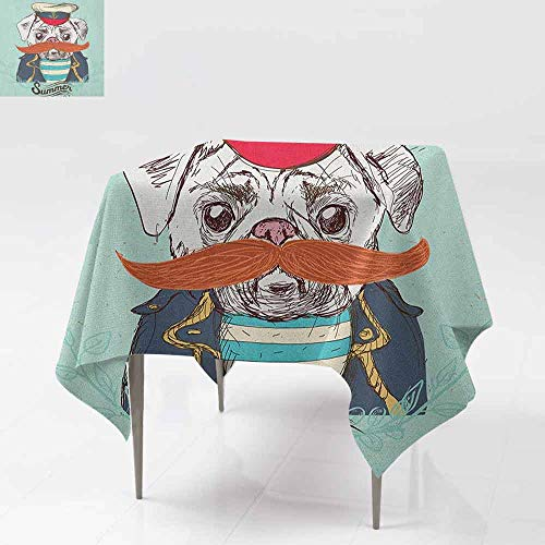 DUCKIL Restaurant Tablecloth Captain Dog with Hat Mustache Jacket and Shirt Cute Animal Funny Image Soft and Smooth Surface W50 xL50 Navy Blue Pale Blue Orange