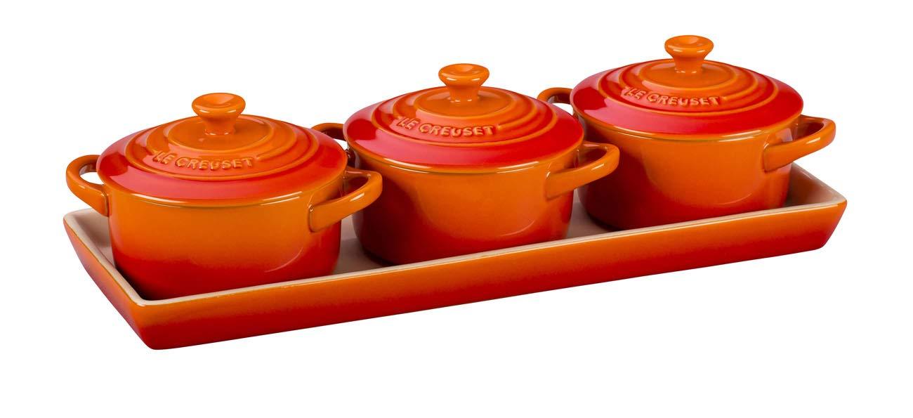 red Le Creuset 91006900090010 Stoneware Set of 4 Petite Casseroles 0.2 L-Flame