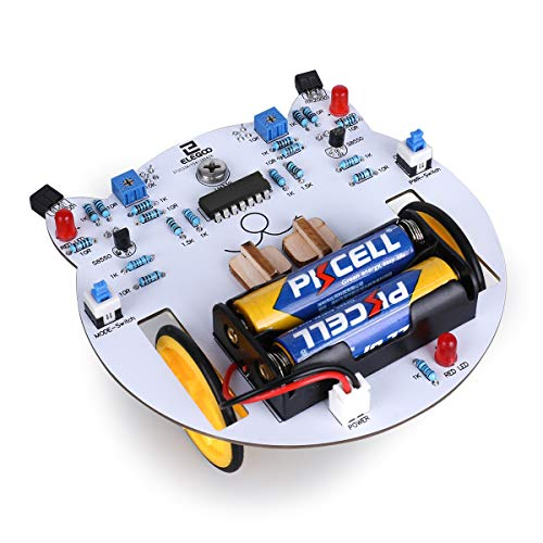 ELEGOO Soldering Robot Car Kit with Obstacle Avoidance and Line Tracking Module, Basic STEM Kit for Learning Electric Soldering Using LM339 Chip