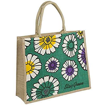 Jute Bag- Eco Friendly, Natural Jute/burlap - Sunflower Design
