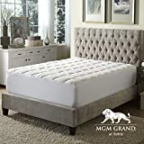 MGM Grand Hotel MP-012-6Q Overfilled Extra Loft Waterproof Mattress Pad with Deep Skirt, Queen, White