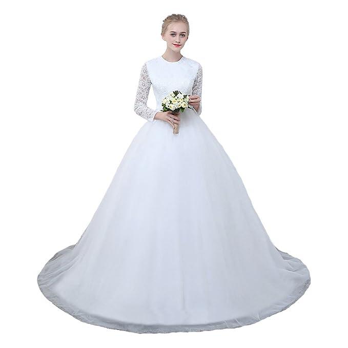 Amazon.com: jieruize Mujer de encaje vestidos de boda ...