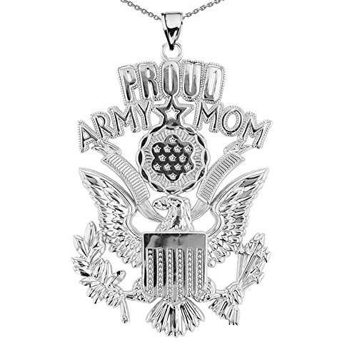 U.S. Proud Army Mom Sterling Silver with The Great Seal Pendant Necklace, (Army Great Seal)