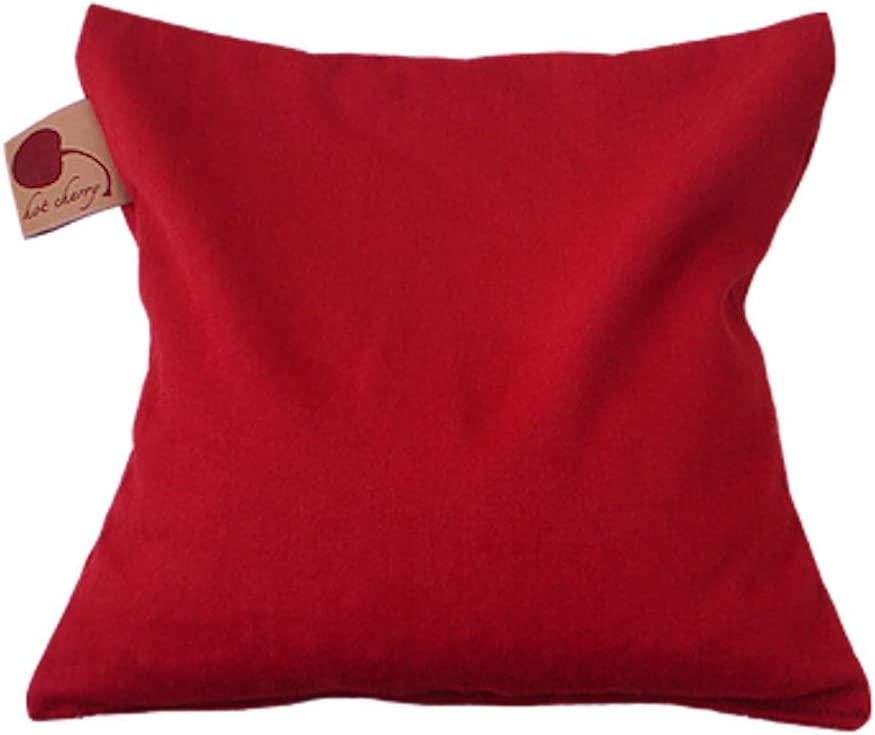 Hot Cherry Pit Pillow Square - Red Denim, Natural-Dyed (Unwrapped/Lowest Price) Natural Moist Heat or Cold Therapy for Muscle Pain, Tension Relief, Headaches, Arthritis, Aromatherapy - Microwavable