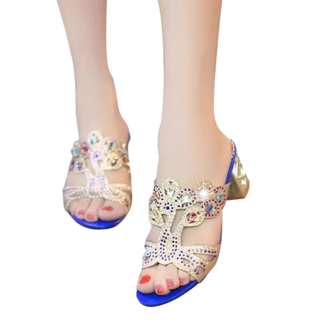 FORUU Summer Fashion Women Girl Big Rhinestone High Heel Sandals Ladies Beach (37, Dark Blue)