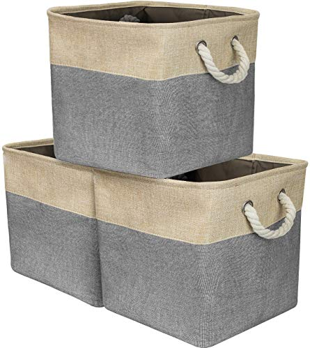 (Sorbus Storage Large Basket Set [3-Pack] Big Fabric Collapsible Organizer Bin with Cotton Rope Carry Handles for Linens, Toys, Clothes, Kids Room (Grey))