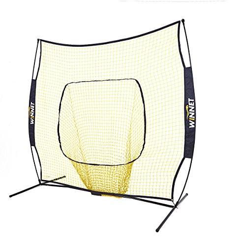 Winnet Baseball and Softball Net 7 x 7 ft, Practice Hitting Pitching, Equipment Training Aids, Yellow Polyester Knotless Nets