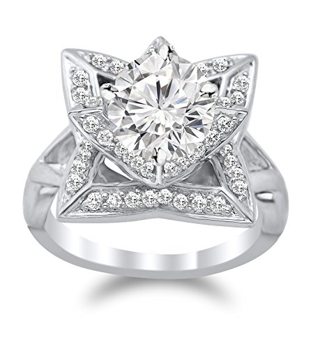 (1 Carat t.w. Lotus Flower Diamond Engagement Ring with a 0.5 Ct Forever Brilliant Round Moissanite Center)