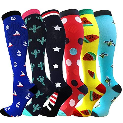 Compression Socks For Men & Women - 3/6 Pairs - Best Sports Socks for Running,Nurses,Sports,Flight Travel- 20-25mmHg (Small/Medium, Mix of Colors-7(6 Pairs)) ()