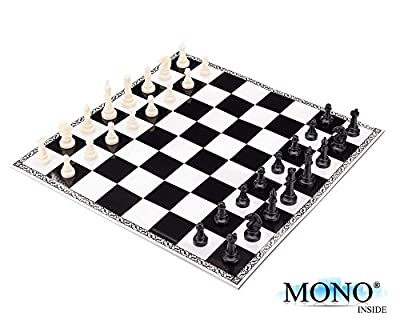 "MONOINSIDE Folding Travel Chess Board Set for Kids and Adults, Portable Family Board Game with Ivory Plastic Chess Pieces, Made of Cardboard, 12"" x 12"""