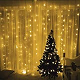Tuscom 3Mx3M 448LED Curtain Light String (US Standard)|Christmas Decor Lights Outdoor Festival Xmas Garden Wedding Party Mini Fairy Decor Lamp(5 Colors) (Yellow)