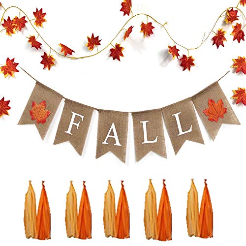 MZYARD Fall Banner Set - Fall Decor, Fall Burlap Banner Assembled with Maple Leaf Design, Thanksgiving Decor, Autumn(NO DIY REQUIRED)