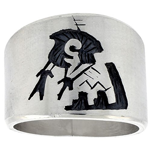 - Sterling Silver Native American Design BRAVE Ring, size 11