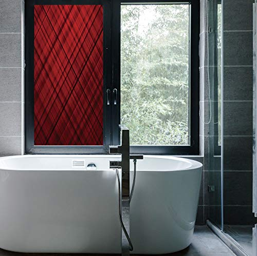 (C COABALLA Stained Glass Window Film,Red and Black,for Bathroom Shower Door Heat Cotrol Anti UV,Scottish Kilt Design Pattern with Stripes Lines Squares,24''x48'')