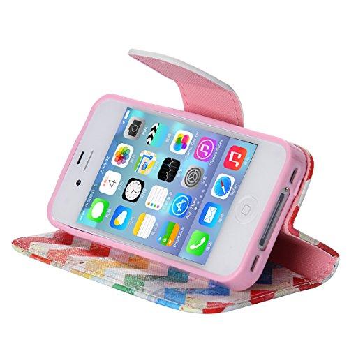 iPhone 4 / 4S Coque , Apple iPhone 4/4S Coque Lifetrut® [ Flots ] Luxe Premium Portefeuille Flip mignon Coque TPU souple Folio en cuir PU intégré dans la carte Slots Coque Etui pour Apple iPhone 4/4S