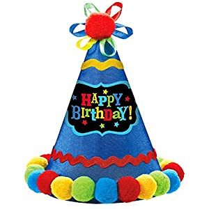 "Amscan 250548 Birthday Brights Cone Hat 8 1/4"" x 6 1/4"" Multicolor"