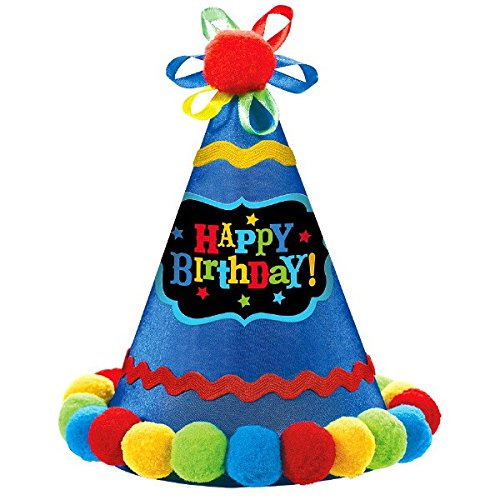 Amscan 250548 Birthday Brights Cone Hat, 8 1/4