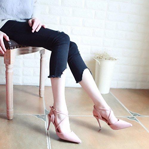Pink scarpe ladies' profonde sandali e a tacchi alti di Europeo poco YMFIE in punta i party Estate scarpe diagonali con nozze stile qxg1HO
