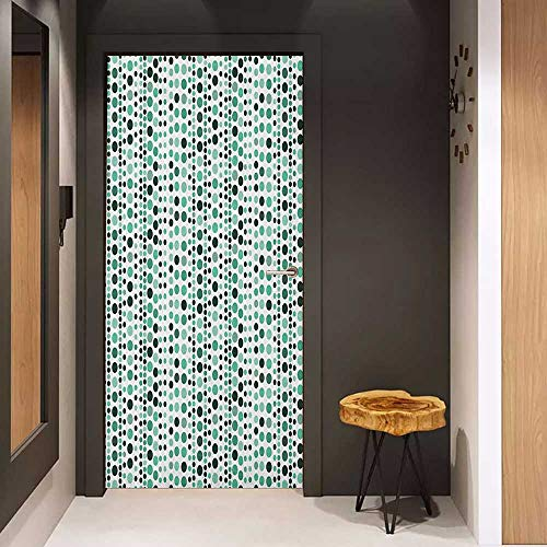 Onefzc Door Wallpaper Murals Modern Retro 60s 70s Vintage Geometrical Circles Dots Points Ombre Image WallStickers W32 x H80 Teal Turquoise Hunter Green ()