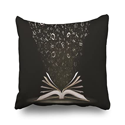 Throw Pillows Covers Custom Open Book Letters Falling Into Pages Fall Word Art Design Pillowcase Home