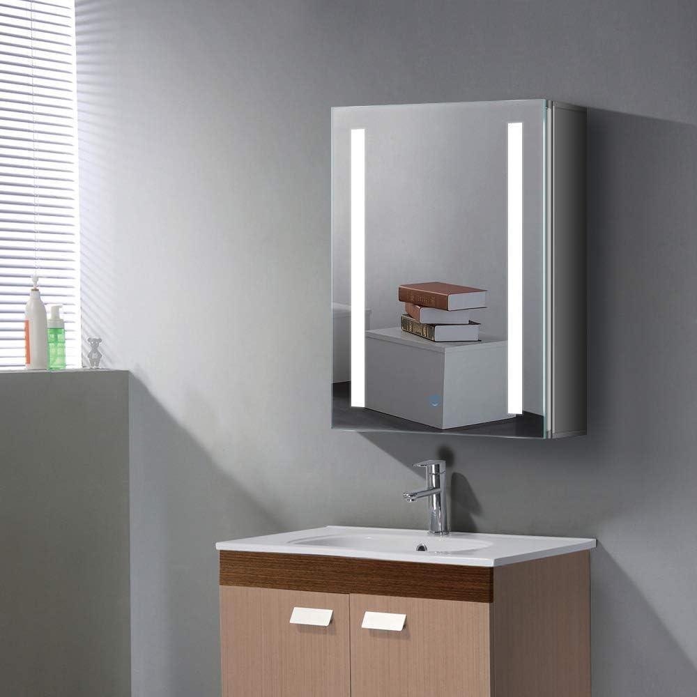 Quavikey LED beleuchteter Spiegelschrank mit Rechteckiges Licht Demister Pad Aluminium Badezimmerspiegelschrank 500 x 700MM f/ür Schmicke Ablagerung Bad Toilette