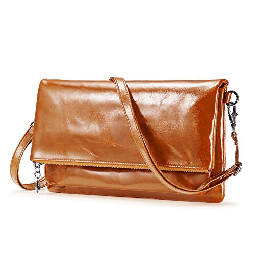 Womens Genuine Leather Clutch Handbags [12 Card Slots] Purse with Strap Crossbody Messenger Bag for Women (Orange Brown)