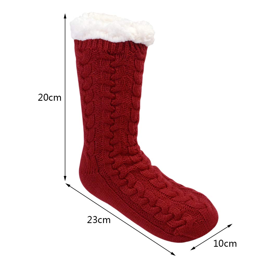 2 Pairs Women Warm Fuzzy Slipper Socks Winter Super Soft Fleece-lined Stockings Christmas Gift With Grippers Girls Cozy Sock