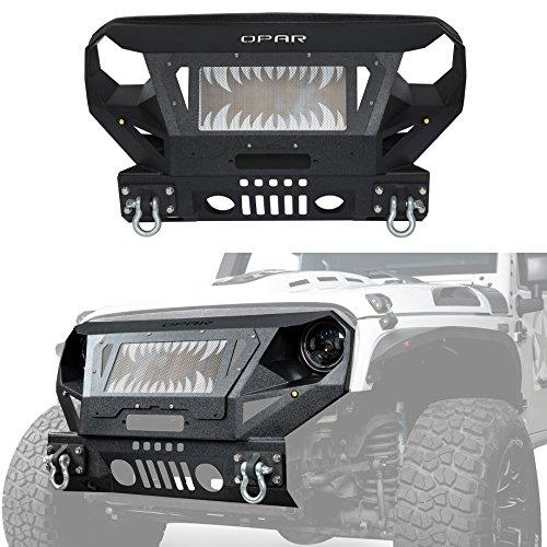 Opar Wrangler JK Textured Black Steel Front Bumper & Grille Guard for 2007-2018 Jeep JK