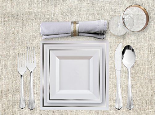 Imperial Collection White/Silver Square 240 Pieces Plastic China Like Plates Silverware Combo for 40 People (80 Imperial Collection White Square Plates, 160 Upscale Collection Silver Like Cutlery).