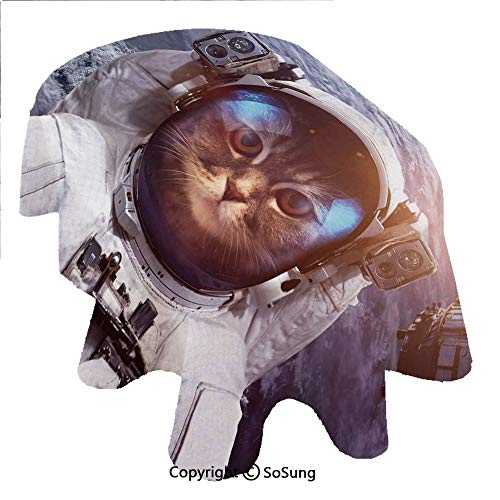 - Space Cat Oval Polyester Tablecloth,Astrounaut Cosmonaut Cat in Suit with Space Satellite Eclipse Image,Dining Room Kitchen Oval Table Cover, 60 x 120 inches,Blue Grey and White