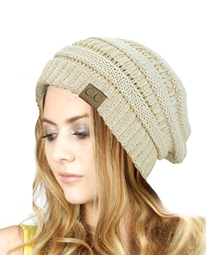 (C.C Trendy Warm Chunky Soft Stretch Cable Knit Beanie Skully, Ivory/Met. Gold)