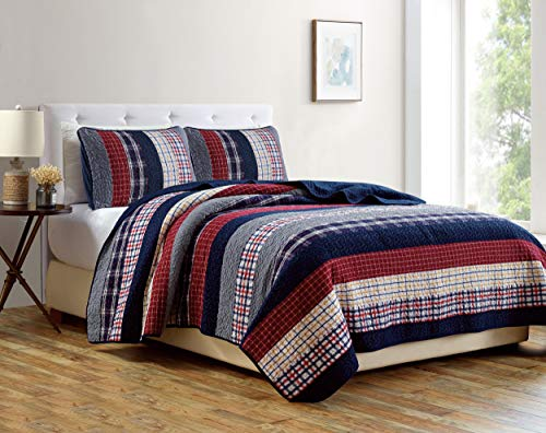 - Milton 3-Piece Plaid Checkered Patchwork Striped Quilted 100% Washed Cotton Reversible Bedspread Quilt Set, Queen