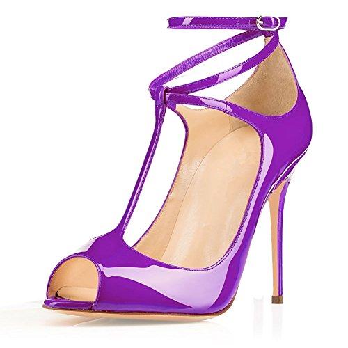 Sandali 10 Pompe Ankle Sandals Alla Shoes Womens Purple Peep T Eldof Heel High Sera Dress Plateau Centimetri Eldof Womens cinghia Toe T Tacco strap Alto Wedding Viola 10cm Nozze Pumps Di Scarpe Buckle Da Caviglia Fibbia 4nZWxY1H