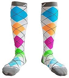 Compression Socks for Women & Men - Argyle Bright, Medium