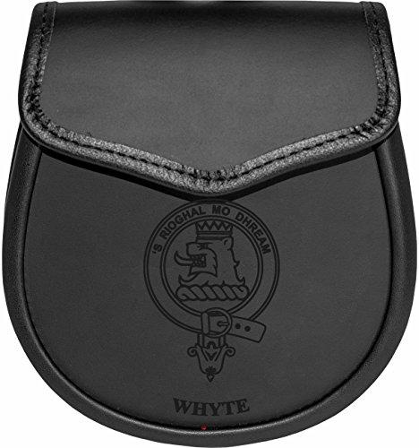 Whyte Leather Day Sporran Scottish Clan Crest