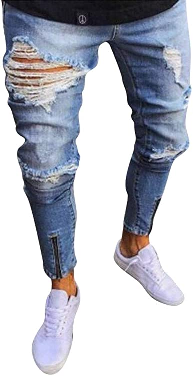Jeans Herren Denim Röhrenjeans Hose Slim Destroyed Ripped