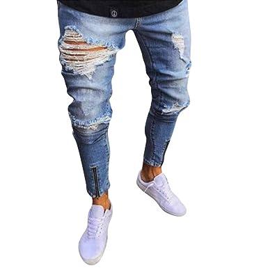 a6ed5112626c5 WanYangg Homme Jeans Elasthane Skinny Déchiré Aux Genoux, Slim Craqué  Pantalon Cargo Délavé Slim Droit Troué Stretch Fermeture À Glissière Denim  Trousers ...